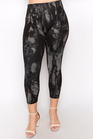 Plus Size - Monochrome Marble Leggings