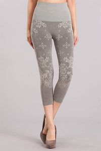 Baroque Lace Jacquard Crop Leggings