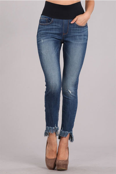 Frayed Hem Cropped High Waist Jeans