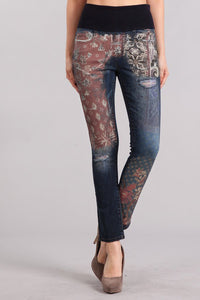 Patch-work Printed High Waist Jeans