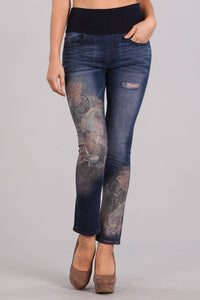 Romantic Paisley Printed High Waist Jeans