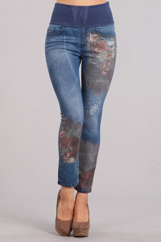 Floral Plaid Printed High Waist Jeans