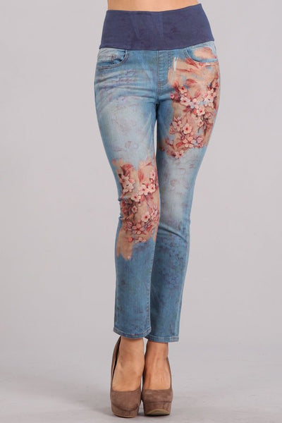 Sakura Flowers Printed High Waist Jeans