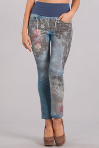 Floral Ikat Printed High Waist Jeans