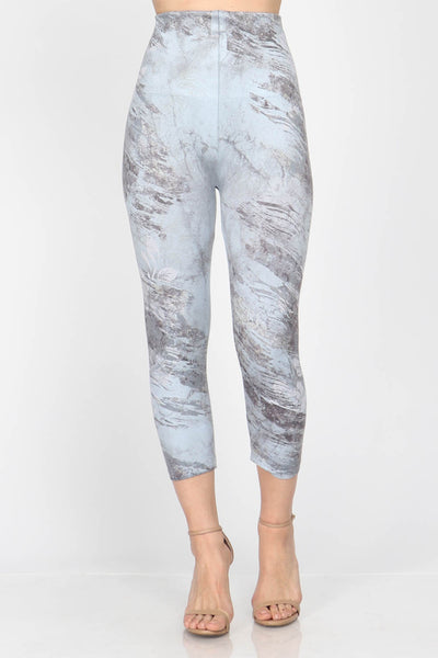 Marble Floral Cropped Leggings
