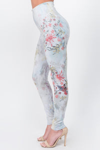 Embroidered Hummingbird Printed Leggings