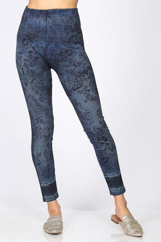 Denim Floral Leggings