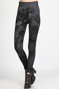 Monochrome Roses Leggings