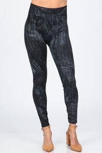 Paint Stroke Denim Leggings