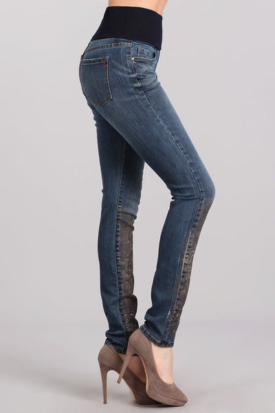 Damask Border Printed High Waist Jeans