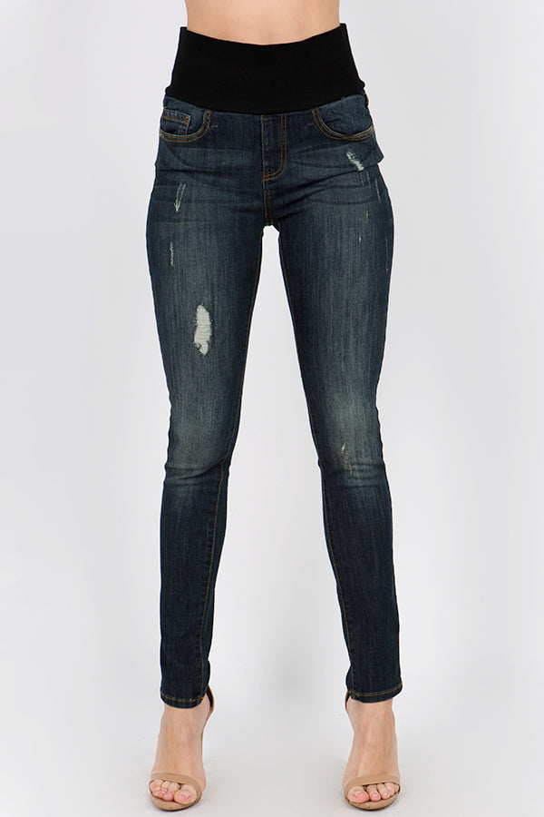 Casual Deep Wash High Waist Jeans