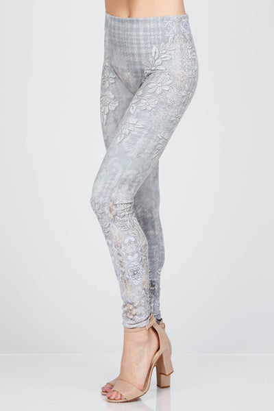 Embroidered Floral Print Leggings