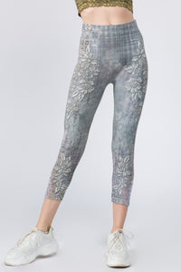 Cropped Embroidered Floral Print Leggings