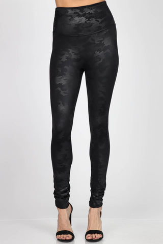 Camo Leatherette Leggings