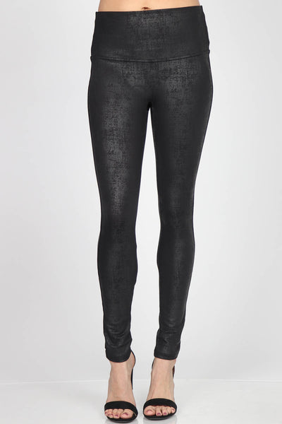 Distressed Twill Leatherette Leggings