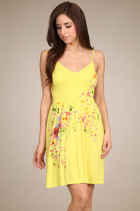 M. Rena Acid Gold Floral Babydoll Cami Dress