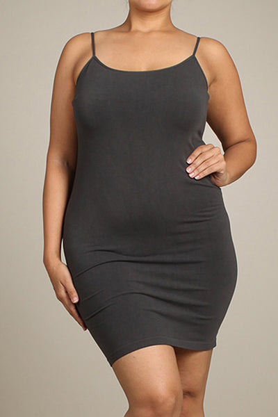 M. Rena Dark Grey Plus Size Spaghetti Strap Dress