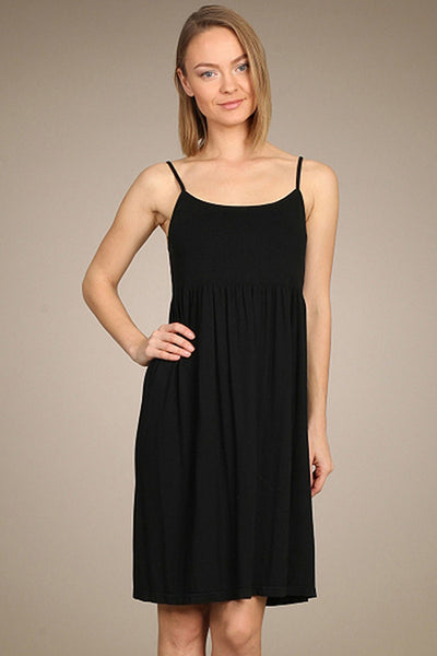 M. Rena Black Ribbed Cami Babydoll Dress
