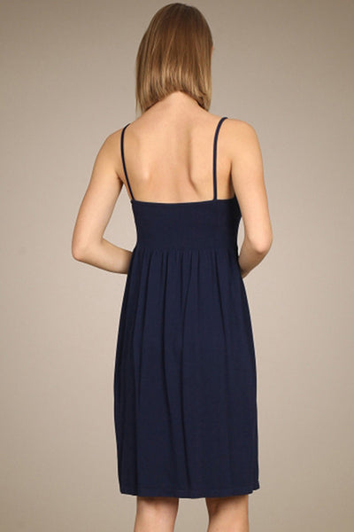 M. Rena Navy Blazer Ribbed Cami Babydoll Dress