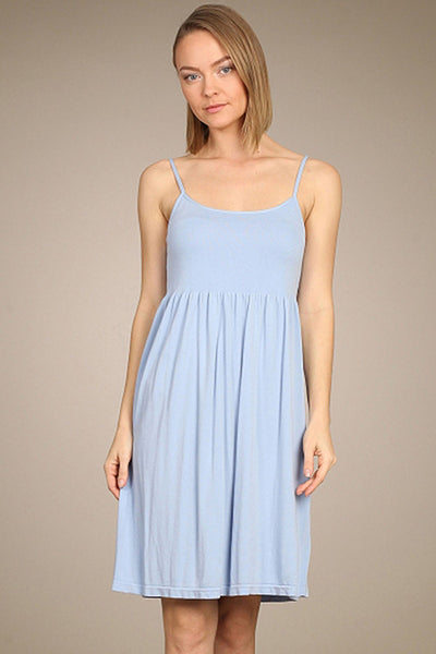 M. Rena Sky Blue Ribbed Cami Babydoll Dress