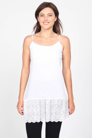 Lace Trim Front Shirring Camisole