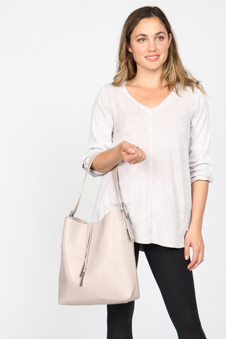 Vegan Leather Slouchy Tote - Grey
