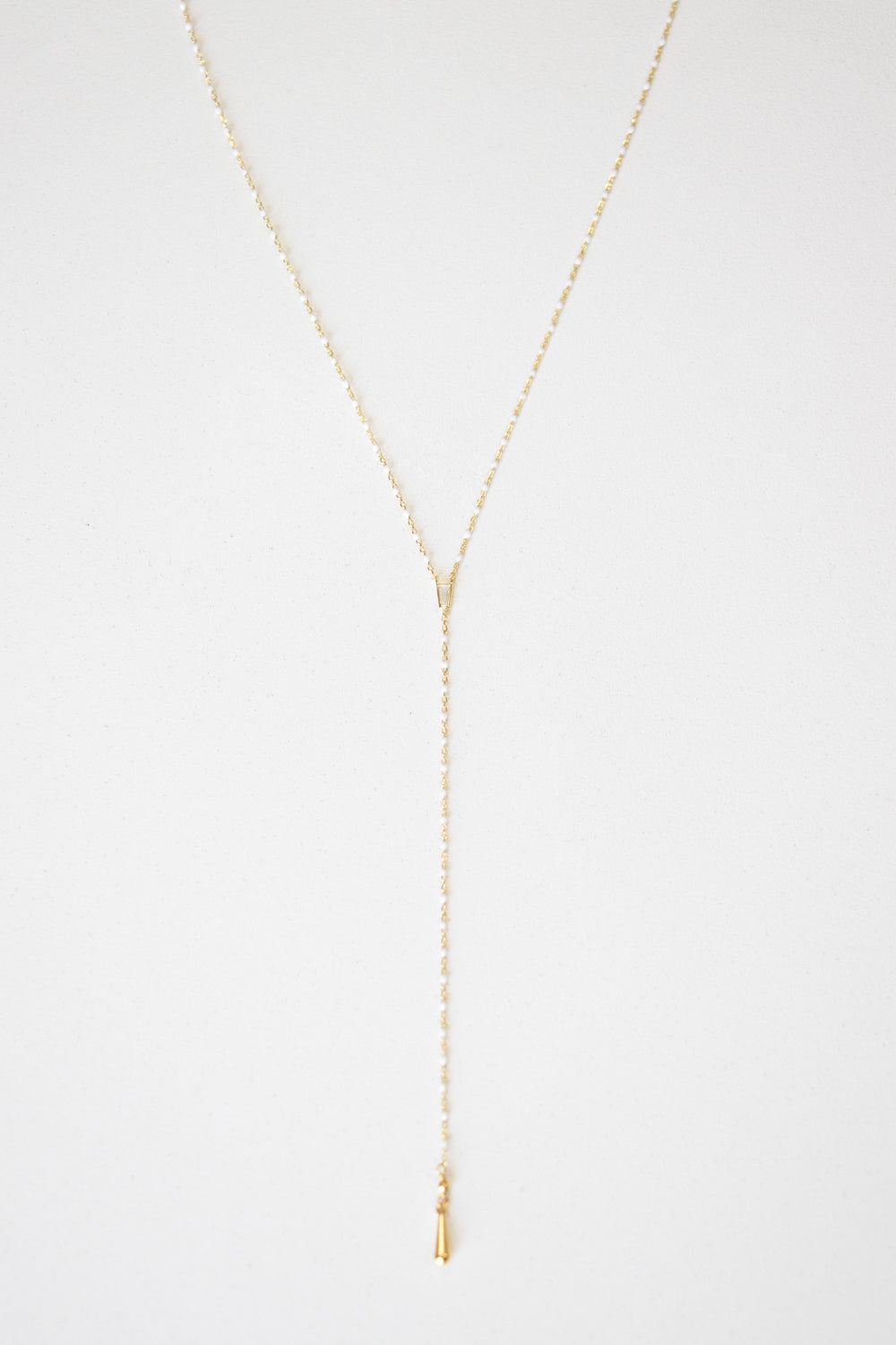 18K Gold Diamond Inlay Lariat Necklace