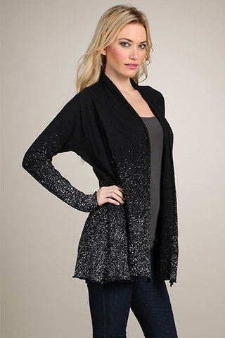 M Rena Black Open Cardigan with Splatter Print