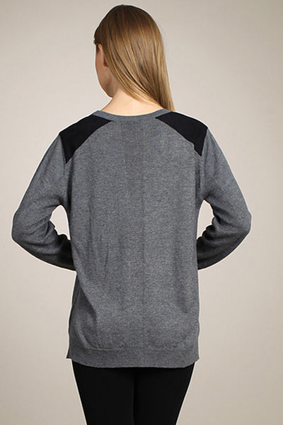 M. Rena Charcoal Suede Shoulder Patch Cardigan with Pockets