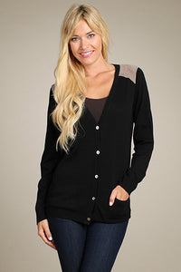 M. Rena Black Suede Shoulder Patch Cardigan with Pockets