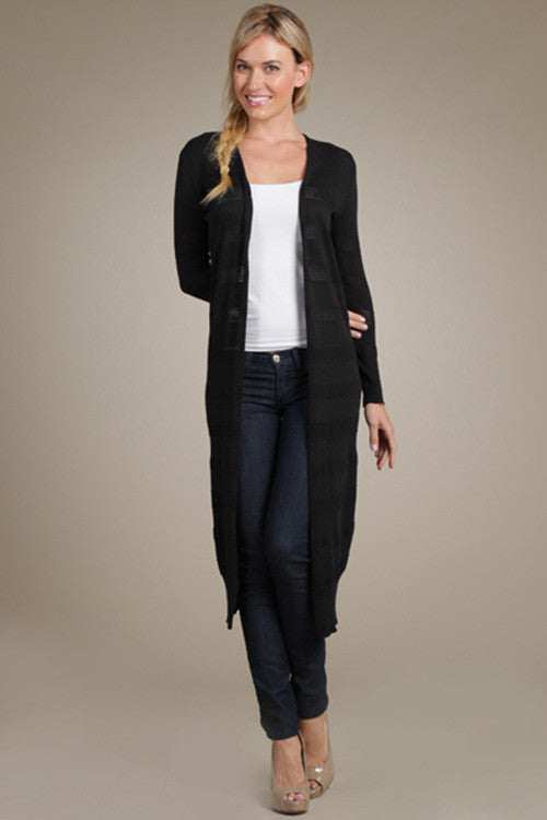 M. Rena Black Pointelle Duster Cardigan