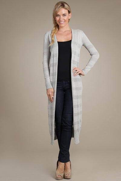 M. Rena Light Grey Pointelle Duster Cardigan