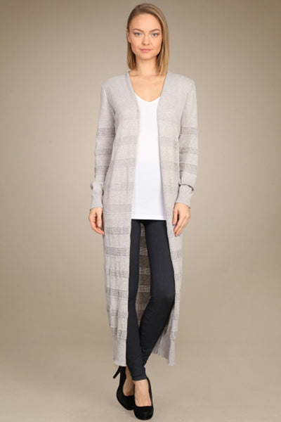 M. Rena Vintage Grey Pointelle Duster Cardigan