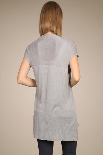M. Rena Light Grey Sleeveless Cardigan with Pocket