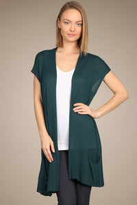 M. Rena Deep Sea Sleeveless Cardigan with Pocket