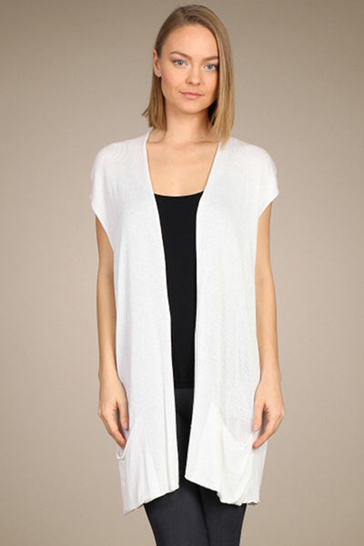 M. Rena White Sleeveless Cardigan with Pocket