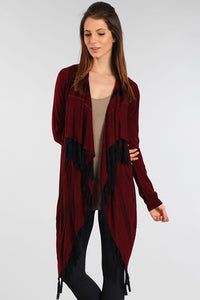 Waterfall Cardigan with Contrast Fringe