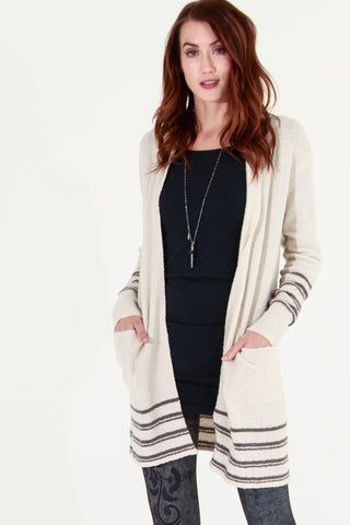 Textured & Striped Cardigan
