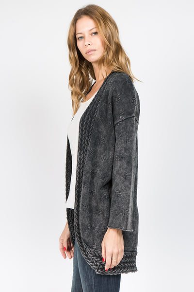 Mineral Wash Pointelle Cardigan