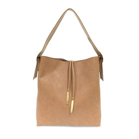 Vegan Leather Slouchy Tote - Khaki