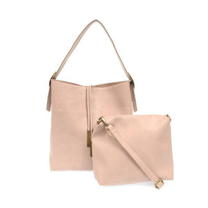 Vegan Leather Slouchy Tote - Pale Pink