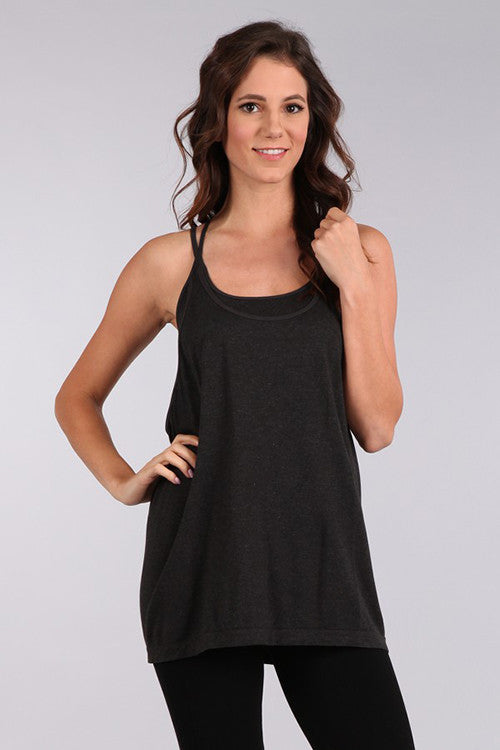 M. Leisure by M. Rena Black Double Layer Tank with Racer Back