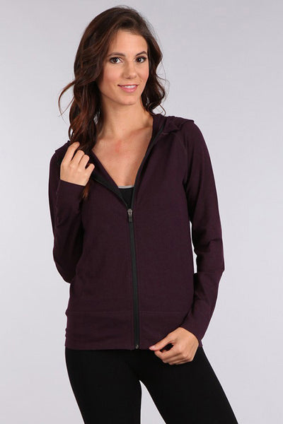 M Leisure by M Rena Plum Hoodie Jacket with back pocket
