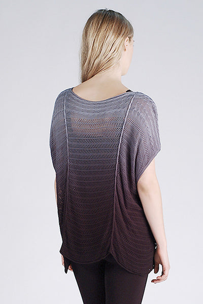 M. Leisure by M. Rena Black Ombre Boat Neck Pointelle Boxy Top