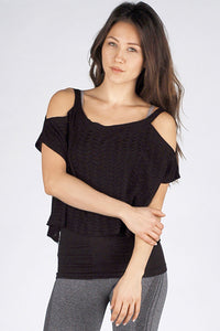M. Leisure by M. Rena Black Cut Out Shoulder Sleeve Top