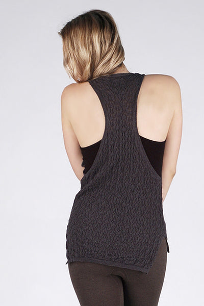 M. Rena Black Racer Back Tank with Draped Front