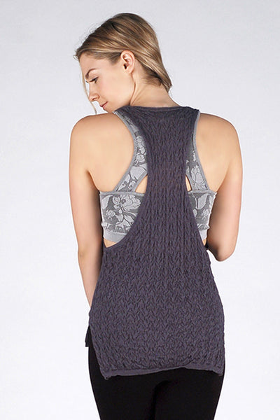 M. Rena Ink Racer Back Tank with Draped Front