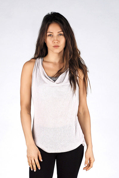 M. Rena Wind Chime Racer Back Tank with Draped Front