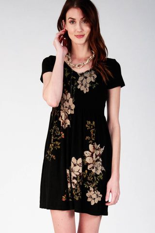 Cap Sleeve Babydoll with Floral Print