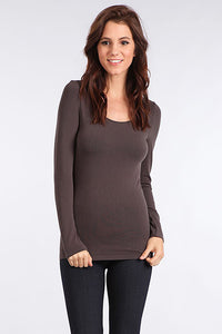 M. Rena Dark Grey Long Sleeve Scoop Neck Top